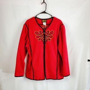 Red Bob Mackie Wearable Art Gold Black Zipper